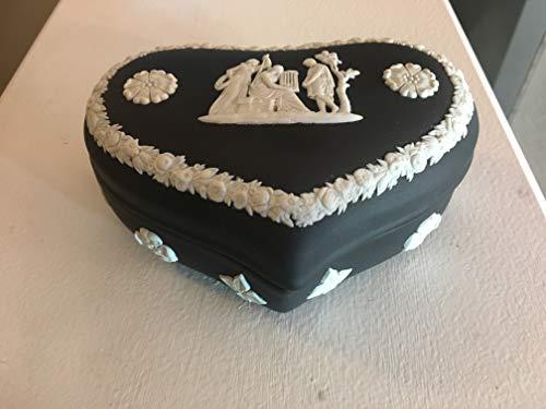 Wedgwood Vintage Black Jasperware Heart-Shaped Box