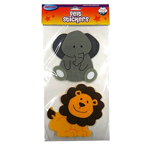 - Zoo Animals Large 3D Felt Stickers - Pack of 8 Animals - by Crafty Bitz