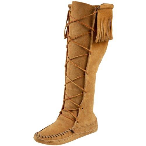 Minnetonka Women's Front Lace Knee-Hi Boot,Tan,6 M US