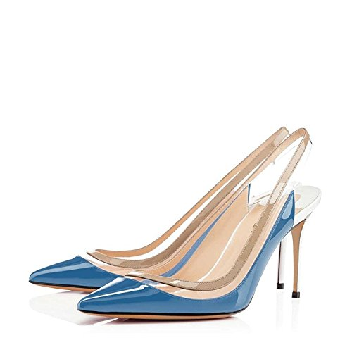 13 Women Jayjii Pointed US Sling Size Leather Transparent Genuine Pumps Toe Back Sandals Nancy Blue Shoes 6twZdqC6