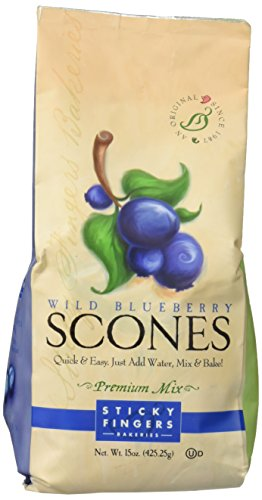 Sticky Fingers Wild Blueberry Scone Mix -Wild Blueberry-15 Ounce Bags - All Natural Scone Baking Mix (Wild Blueberry, 15 Ounce)