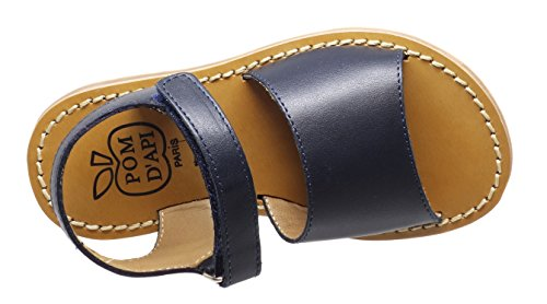 Pom dApi Plage Stitch Easy Leder Sandalen Mädchen Blau (Marine)