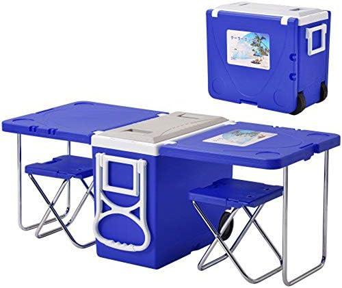 クーラーボックス テーブル付きクーラーボックス キャスター付き 折りたためるイス2脚付き (ブルー)