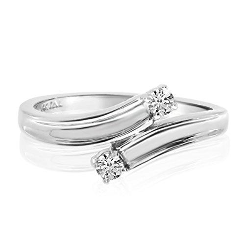 14K White Gold Two-Stone Bypass Diamond Ring. Size 6