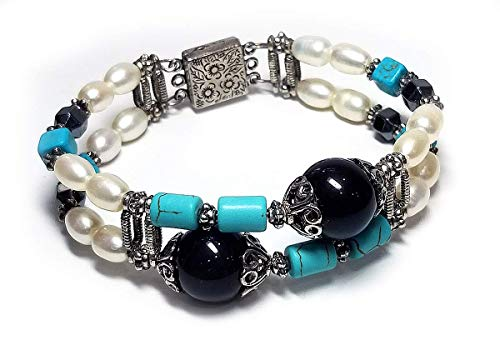 - OOAK Pearl, Onyx, Magnesite, and Hematite Double Bangle