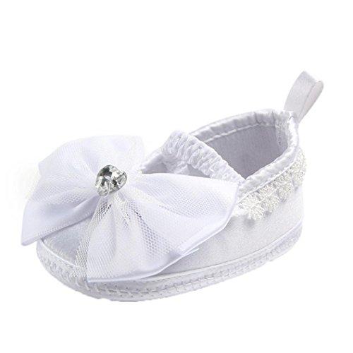 Hunpta Neugeborene Baby Prewalker Soft Bottom Anti-Rutsch Schuhe Mädchen Big Flower Schuhe Weiß