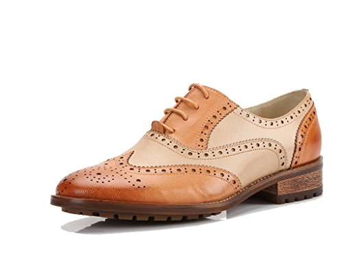 U-lite Womens Perforert Blonder-up Wingtip Lukke Foran Skinn Flat Oxfords Vintage Oxford Sko Brun Beige