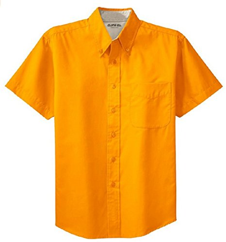 Clothe Co. Mens Short Sleeve Wrinkle Resistant Easy Care Button Up Shirt, Athletic Gold/Light Stone, XS