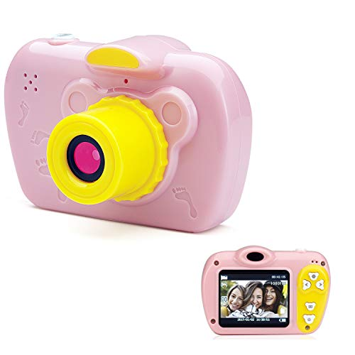 SIKVIO Kids Digital Toy Camera - Rechargeable HD 1080P with 16GB Micro SD Card Mini 2 Inch Screen Shockproof Tough Preschool Girls Travel Video Gift Camera Indoor Outdoor Boys Cam for Age 3 - 10 Pink