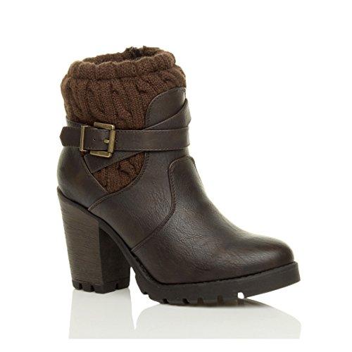 Ajvani Womens Ladies high Block Heel Knitted Collar Winter Military Army Combat Biker Zip Ankle Boots Booties Size Brown