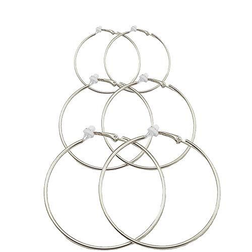 3 Pairs Hoop Women Clip On Earrings Big Circle Varied Sizes Non Piercing Earrings Set Silver Toned