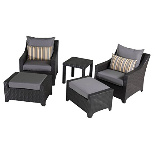 RST Brands Deco 5-Piece Club Chair and Ottoman Set with Cushions, Charcoal Grey, 31.5