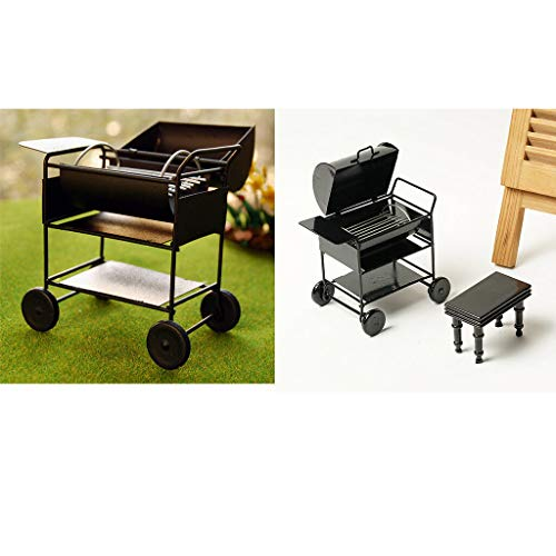 NATFUR 1/12 Dollhouse Miniature Barbecue Oven Car Grill Foods Kitchen Garden Decor