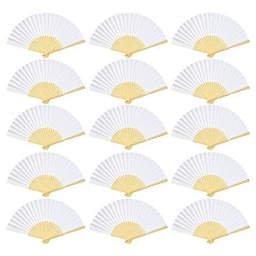 Lee-buty 24pcs DIY Blank Bamboo Folding Fan White Handheld Folded Fan Paper Handmade Folded Fan for Gift Party Favors Home Office Wedding Party -