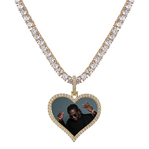 Quality Gold Tennis Charm - GUCY Personalized Custom Photo Memory Pendants Charm Medallions Solid Necklace with Tennis Chain Men's Hip Hop Fashion Jewelry (Gold-Love, 18.00)