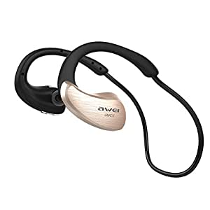 Bluetooth Headphones Wireless In-Ear Sports Earbuds V4.1 Stereo Music Noise Isolating Sweatproof Headset with Volume Control Mic and Soft Security Hooks Awei A885BL (Gold)