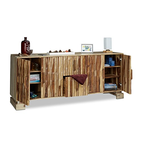Low Country Sideboard (Native Home Wooden Sideboard, Wardrobe 2 Drawers, Highboard Living Room Buffet, Solid Cabinet, H x W x D: app. 75 x 177 x 45 cm)
