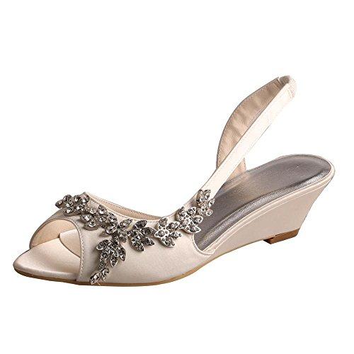 Wedopus MW368 Women's Open Toe Wedge Heel Satin Bridal Wedding Applique Shoes Sandals Size 8 Ivory