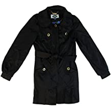 Green With Envy Women's Raincoat Trench Round-Collar Belted Small Black