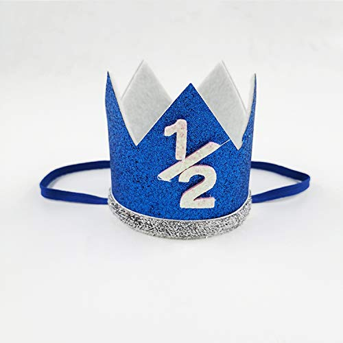 Amazon.com: 1PC Azul Niño Plata Cumpleaños Corona Fiesta ...