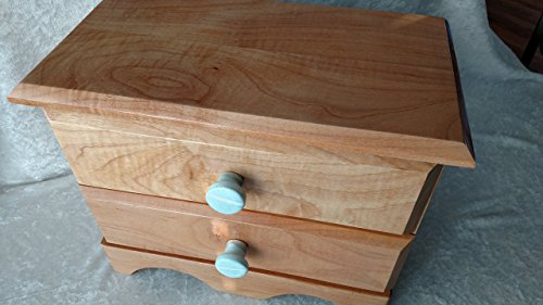 Maple Wood Dresser Jewelry Box with Drawers by Skunk Woodworking