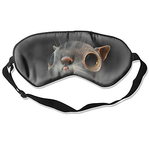 Cat Model Tongue Face Silk Sleep Mask Soft Eye Mask Blindfold Blocks Light Eye Cover with Adjustable Strap