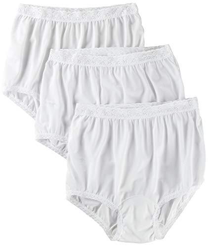 (Caroler Nylon Lace Trim Briefs #3945 WHITE 6)