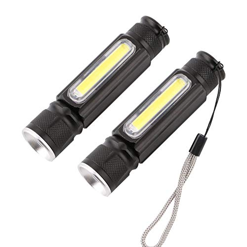Deongo USB Rechargeable Flashlight Mini Handheld Light Built-in COB Side Light and Magnet Adjustable 4 Modes Zoomable LED Torch Waterproof Bright Tactical Flashlight, 2 Pack