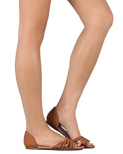 Breckelles Breckelles EC87 Women Leatherette Open Toe DOrsay Hollow Out Sandal Flat Tan eGamWWn1q