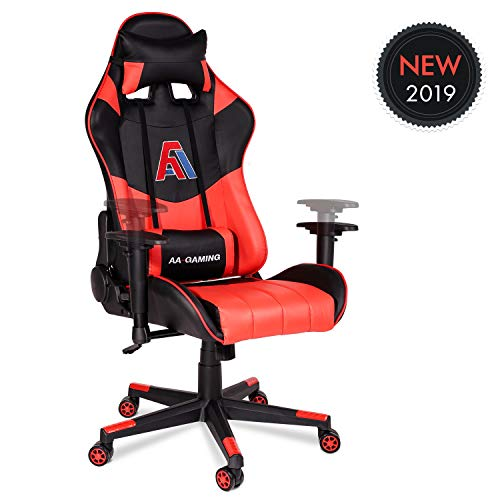 AA Products Gaming Chair High Back Vedio Game Chair Ergonomic Adjustable Computer Racing Chair with Lumbar Support Swivel Chair – Red