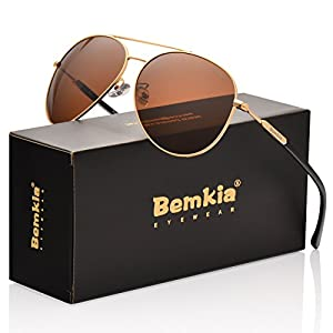 Bemkia Aviator Sunglasses Womens Mens Polarized Mirror UV400 Protection 60MM