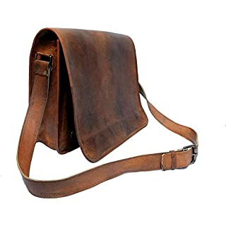 IndianHandoArt 13 inch Leather Real Messenger bag for Laptop Briefcase Satchel Men and Women (13 Inch Small)