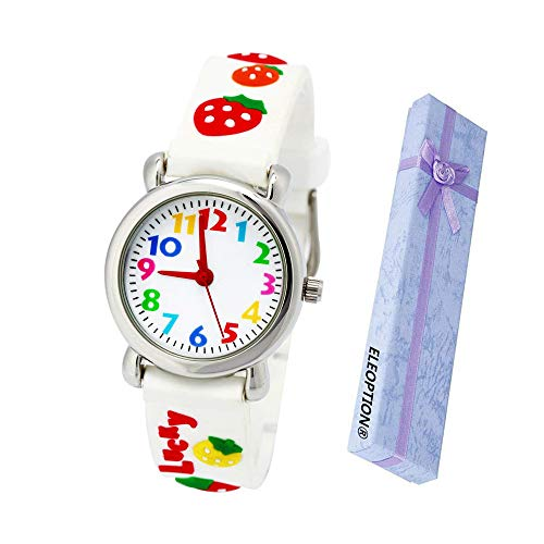 - Eleoption Waterproof Kids Watch for Girls Boys Time Machine Analog Watch Toddlers Watch 3D Cute Cartoon Silicone Wristwatch Time Teacher for Little Kids Boys Girls Birthday Gift (Strawberry White)