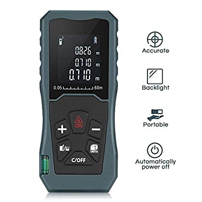 Digital Laser Distance Meter 197FT/ 60M,InLife Backlit LCD Laser Measure, Laser Measuring Device with Single-distance, Continuous, Area, Volume Measurement and Pythagorean Modes
