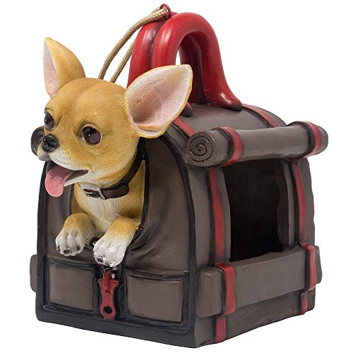 Home 'n Gifts Chihuahua Puppy Dog in Duffel Bag Decorative Bird Feeder or Birdhouse for Outdoor Garden Decor and Home Yard Decorations As Housewarming Gifts for Bird Watchers