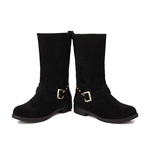 AllhqFashion Mujeres Gamuza(Imitado) Caña Media Tachonado Sin cordones Mini Tacón Botas Negro
