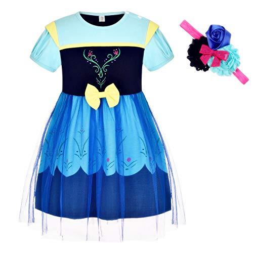 Princess Dresses (Elsa,Snow,Belle,Little Mermaid,Anna,Cinderella,Rapunzel,Aurora) Costumes for Toddler Girls(120CM/4-5years,Anna)