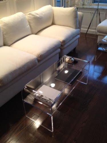 southeastflorida Acrylic Coffee Table with SHELF for magazines etc, 44x16x16x3/4