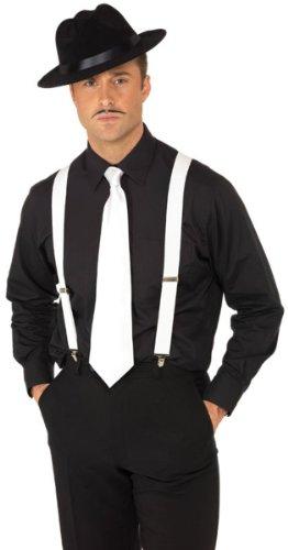 White Costumes Suspenders (Smiffy's Men's Suspenders, White, Elastic, One Size, 25988)