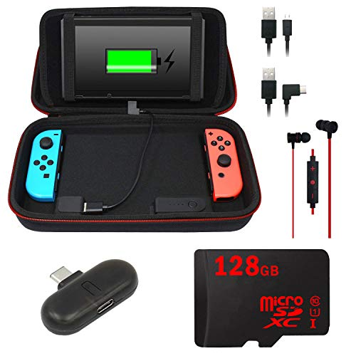 Deco Gear 10000mAH Charging Case for Nintendo Switch with 128GB Audio Essentials Bundle