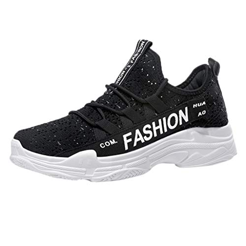 Men's Breathable Knit Sneakers - Stylish Athletic-Inspired Walking Shoes Outdoors Summer Running Trainning Tennis Shoe (Black, US:5.5) by Cealu (Image #8)