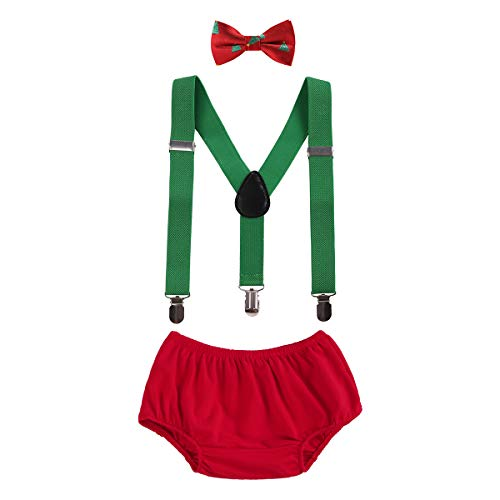 OBEEII Christmas Holiday Party Baby Toddler Boy Cake Smash Outfits Suspender Bottoms Tie Headband Dress Up Fancy Costume Christmas Tree ()