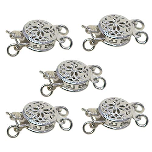 Prettyia 5 Sets White K Plated Beautiful Bead Round 2 Strand Box Clasps Filigree Flower Pinch Push Clasps for Jewelry Making Bracelet Necklace DIY Findings