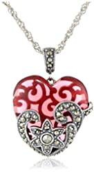 Sterling Silver, Oxidized Marcasite, and Gemstone Colored Glass Heart Pendant Necklace, 18""