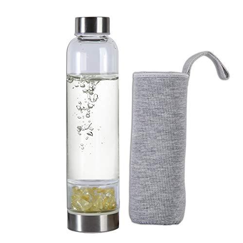 AMOYSTONE Gemstone Water Bottles Citrine Natural Irregular Crushed Stone Crystal Energy Bottle 450ml
