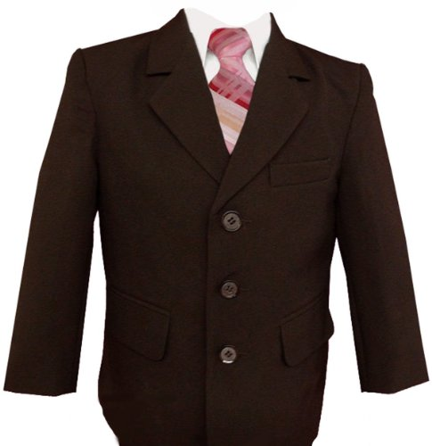 Gino Giovanni Formal Boy Brown Suit with Pink Tie Babies to Teens