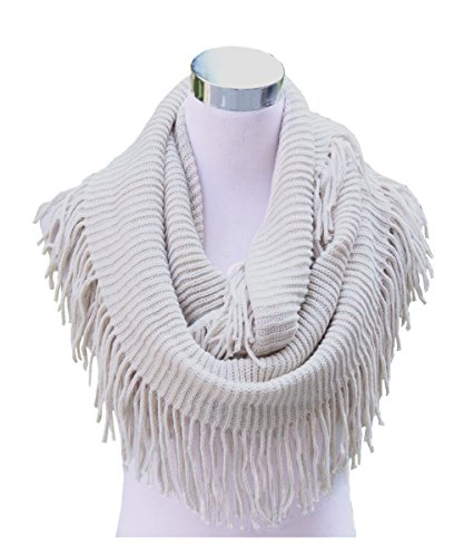 Lucky Leaf Women Fashion Thick Knitting Woolen Infinity Scarf Circle Loop Scarves with Long Fringe (Beige 1)