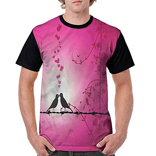 Printed T-Shirt,Love Birds Kissing Fashion Personality Customization]()