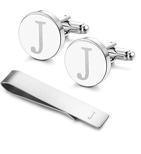 Classic Engraved Initial Cufflinks and Tie Clip Bar Set Alphabet Letter Formal Business Wedding Shirts J