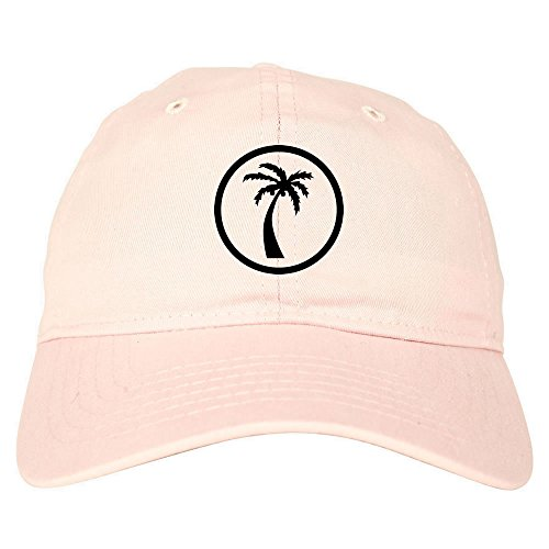 Kings Of NY Palm Tree Chest Logo 6 Panel Dad Hat Cap Pink